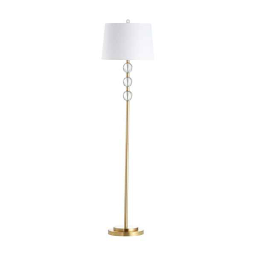 1LT Crystal Floor Lamp, AGB w/ White Shade