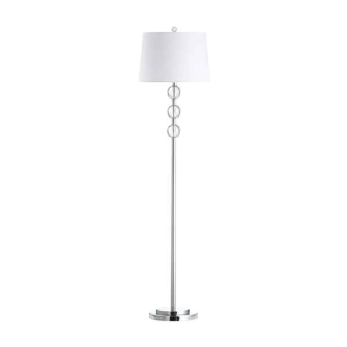 1LT Crystal Floor Lamp, PC w/ White Shade