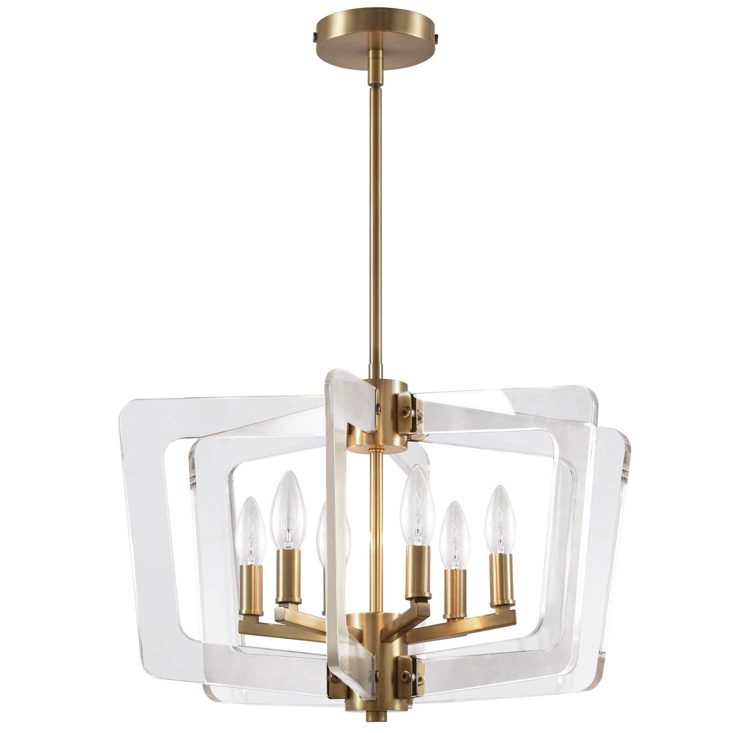 6LT Incan Chandelier,Aged Brass, Acrylic Arms