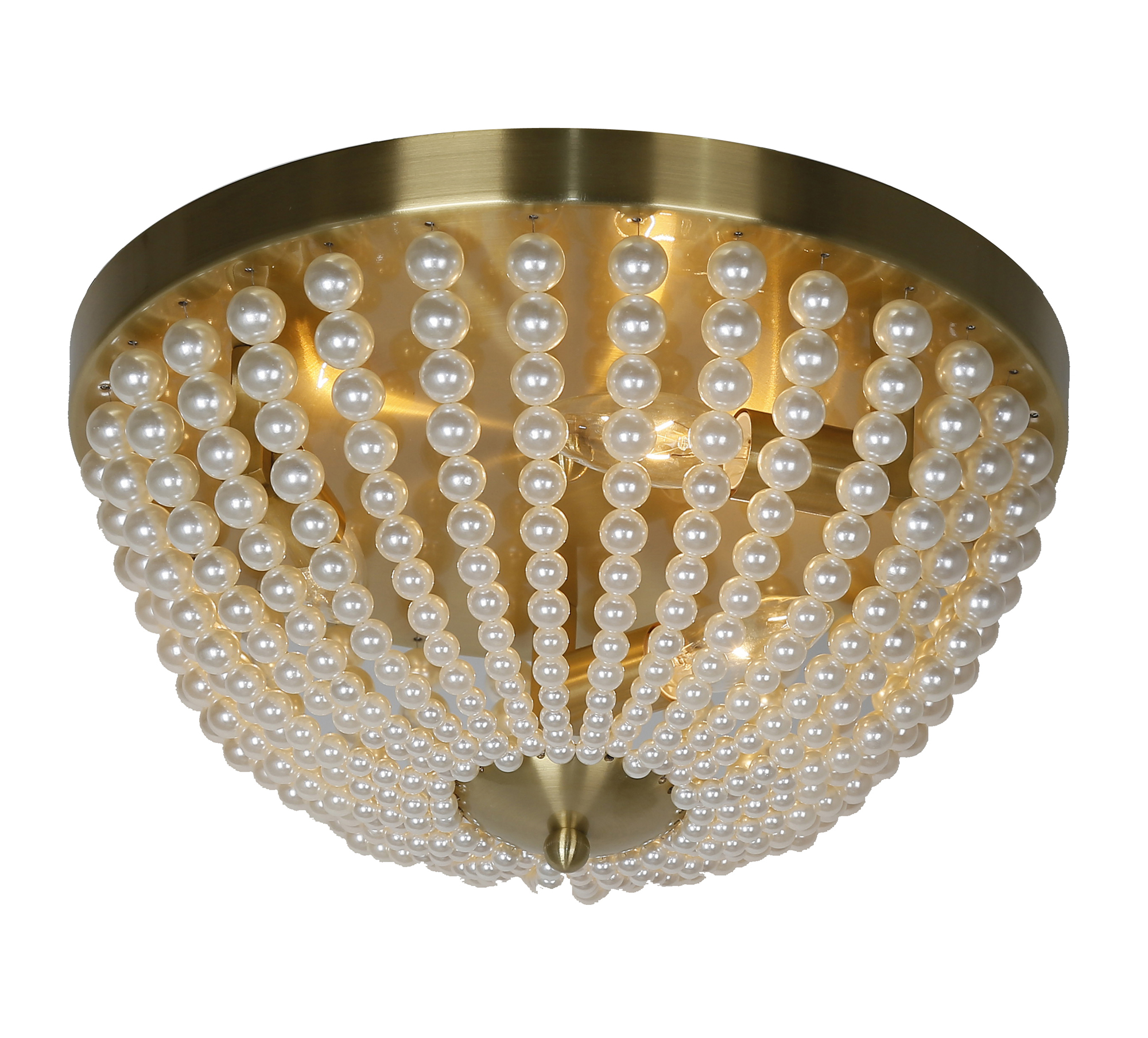 3LT Incandescent Flush-Mount, Aged Brass w/ Pearls