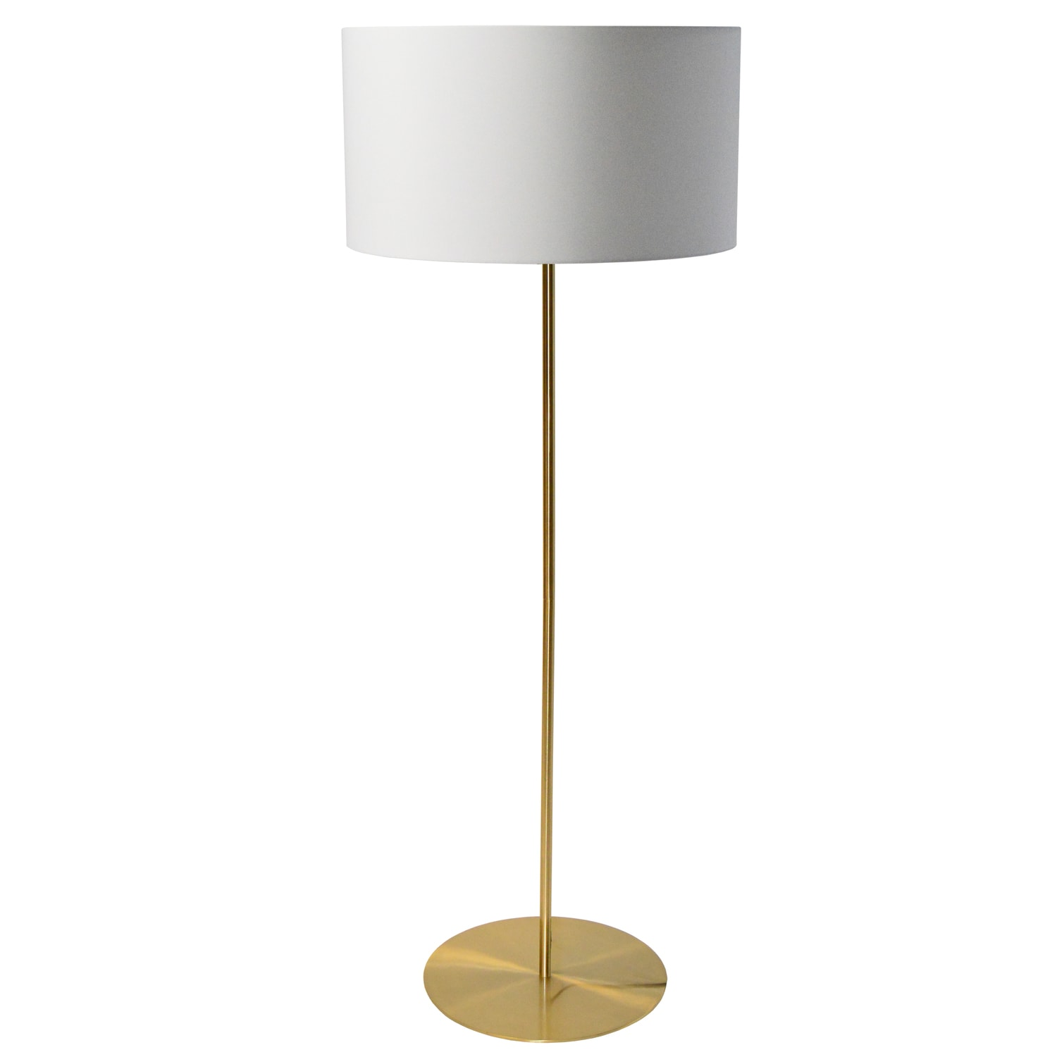 1LT Drum Floor Lamp w/ White Shade Aged Brass