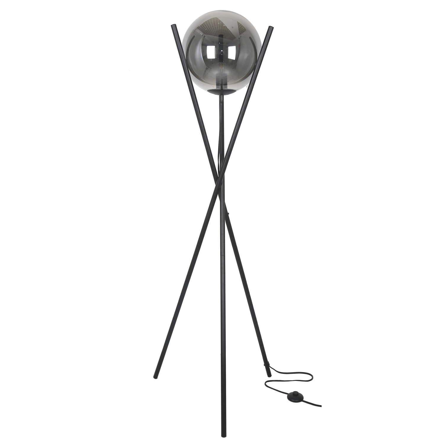 1LT Incand Floor Lamp Matte Black w/Smoked Glass