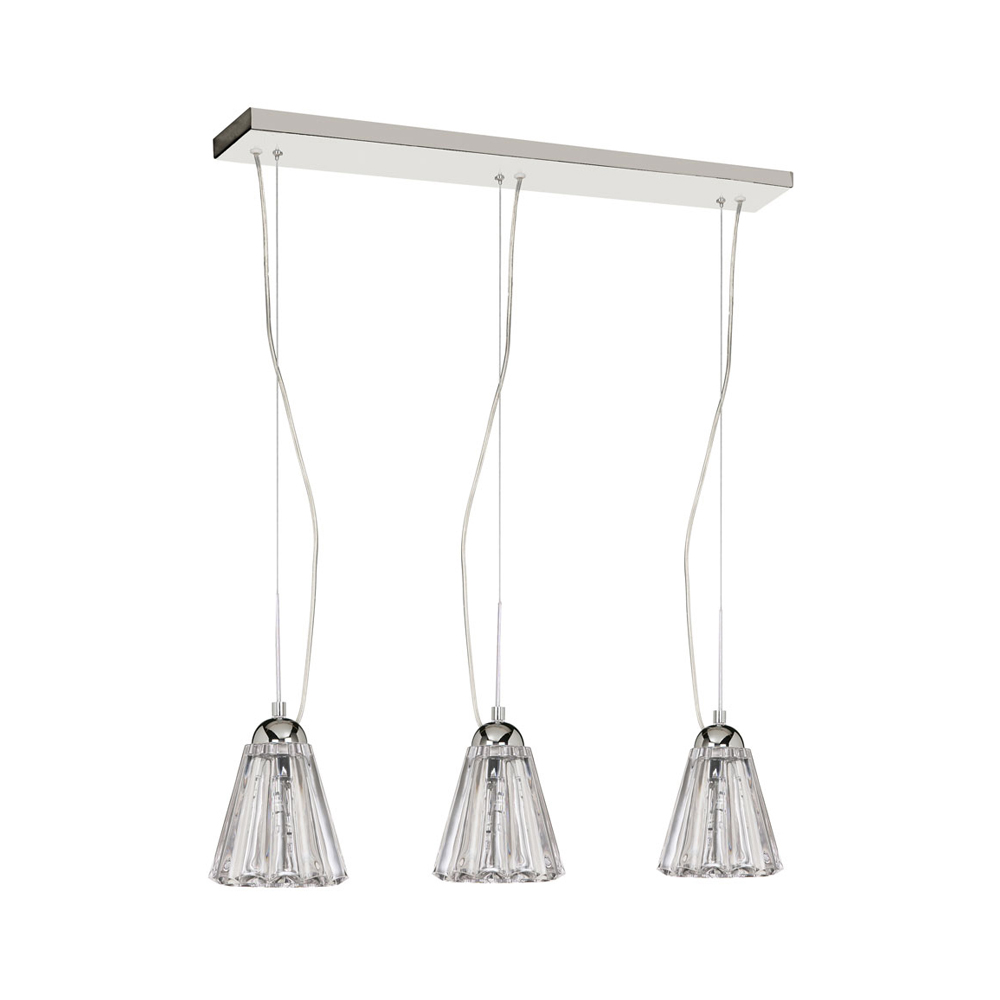 Dainolite Decorative 3 Light Horizontal Crystal Pendant, Polished Chrome