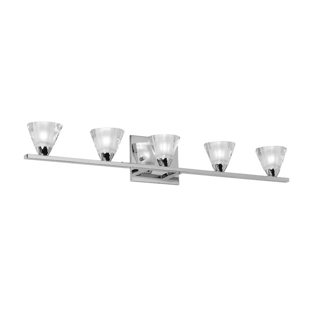 Dainolite Optical Crystal 5 Light Wall Scone with Polished Chrome Finish
