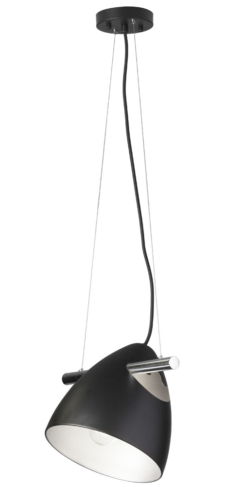 Dainolite Home Indoor Decorative 1-Light Adjustable Pendant on Chrome Bar - Matt Black Finish