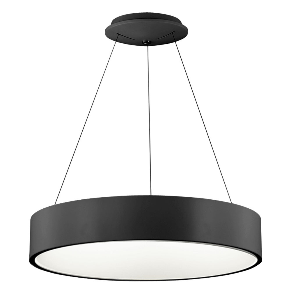 "Dainolite Home Indoor Decorative 36 Watt LED Pendant - 24"" Diameter Black"