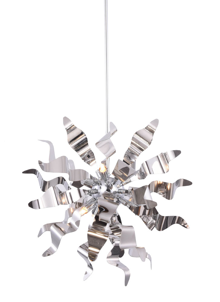 Dainolite 6-Light Pendant with Metal Wavelet Ribbons Polished Chrome Finish