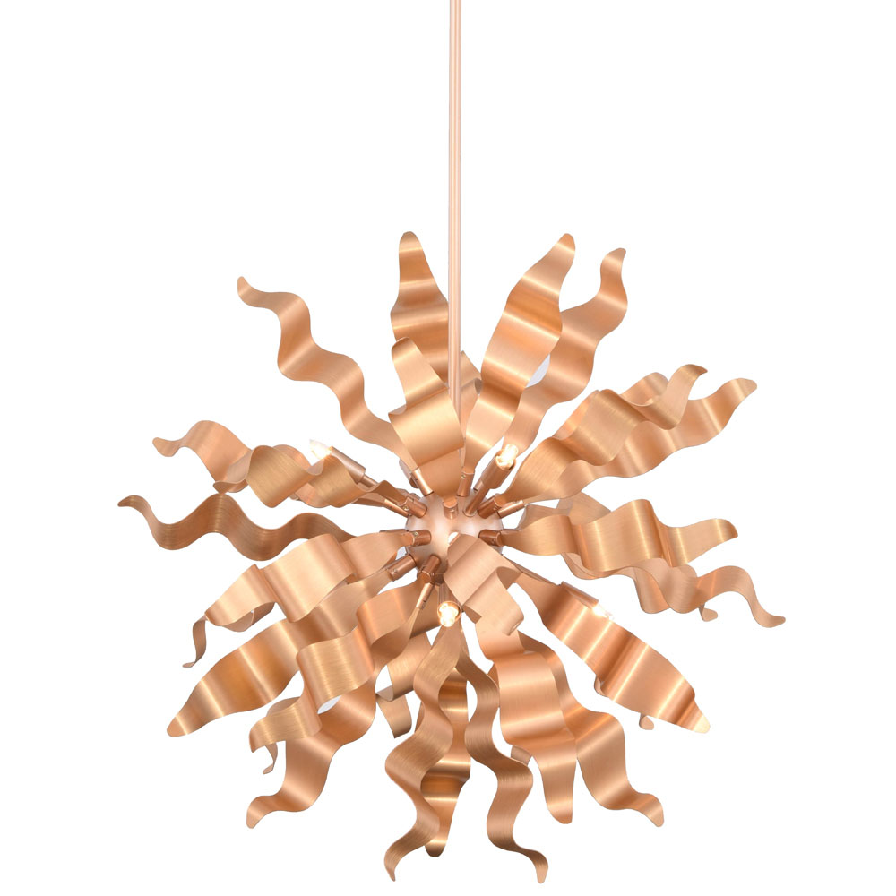 Dainolite 8-Light Pendant with Metal Wavelet Ribbons Rose Gold Finish