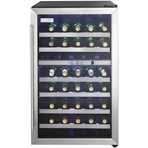 38 bottle wine cooler, black cabinet with stainless steel door frame