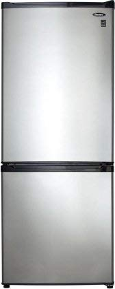 Apartment Size Refrigerator - Black with Stainless Steel Look