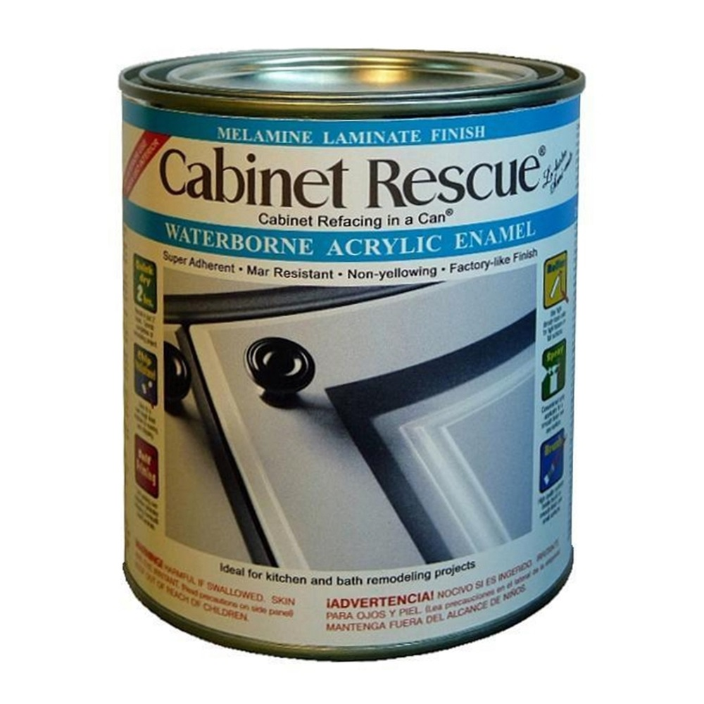Melamine Laminate Cabinet Paint - Cabinet Rescue+ - The Cabinet Refacing in a Can+ (White - 1 Quart)