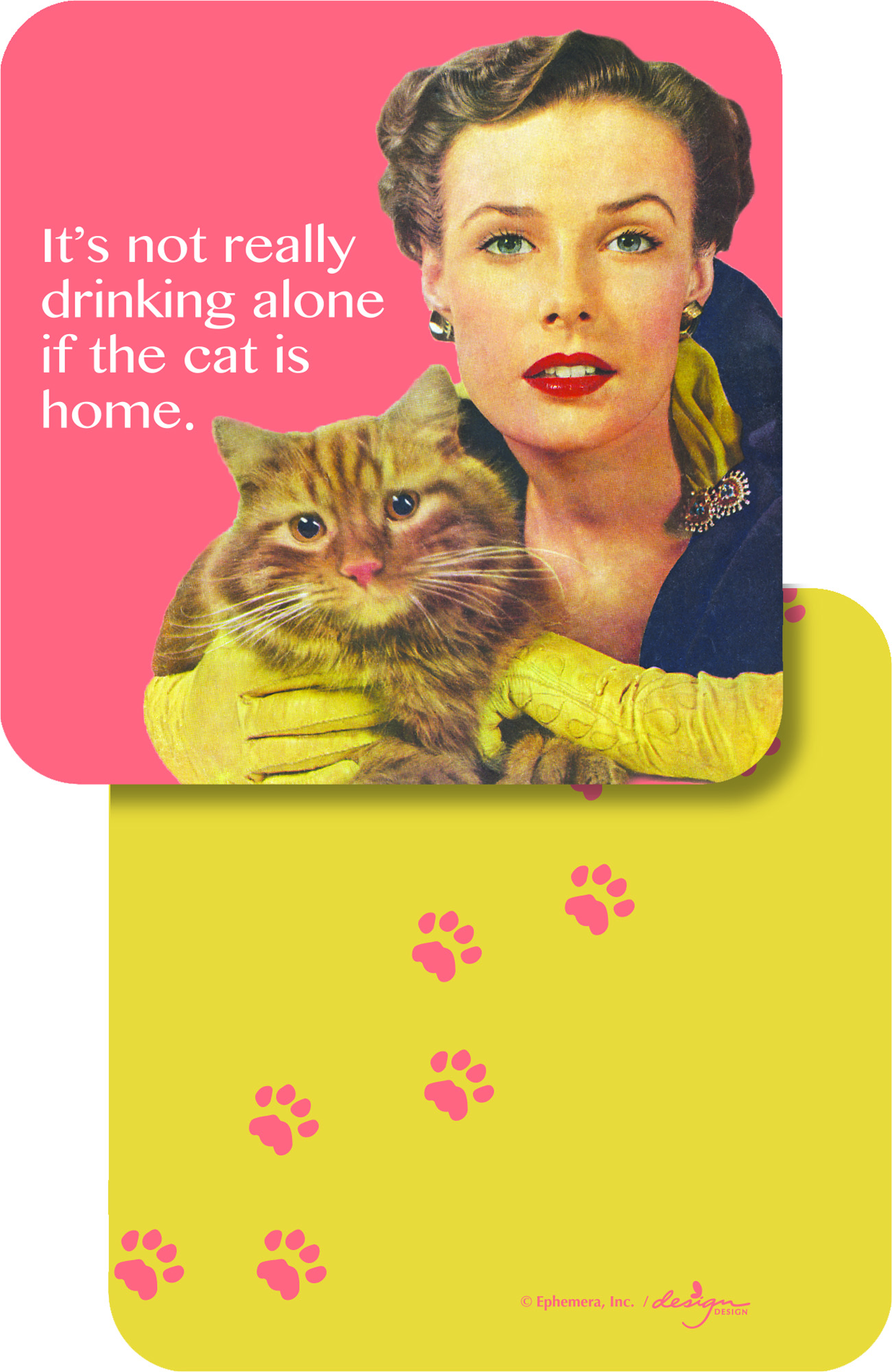 The Cat is Home Paper Coasters