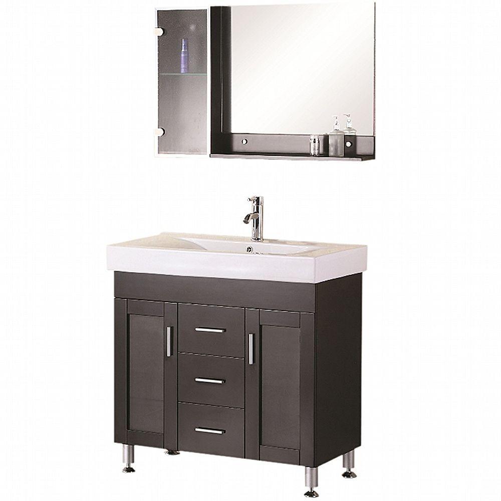 """Bathroom Sink Vanity, 36"""" Single Drop-In Sink, Miami"""