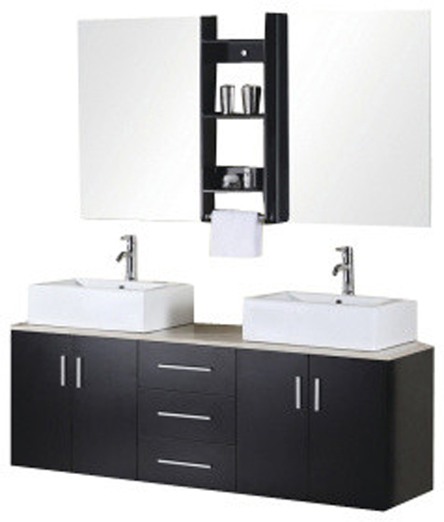 "Bathroom Sink Vanity Set, 61"" Double Vessel Sink, Portland"