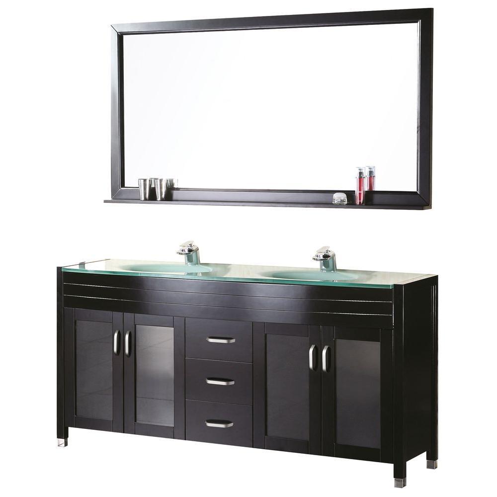 """Bathroom Sink Vanity Set, 61"""" Double Drop-In Sink, Waterfall"""