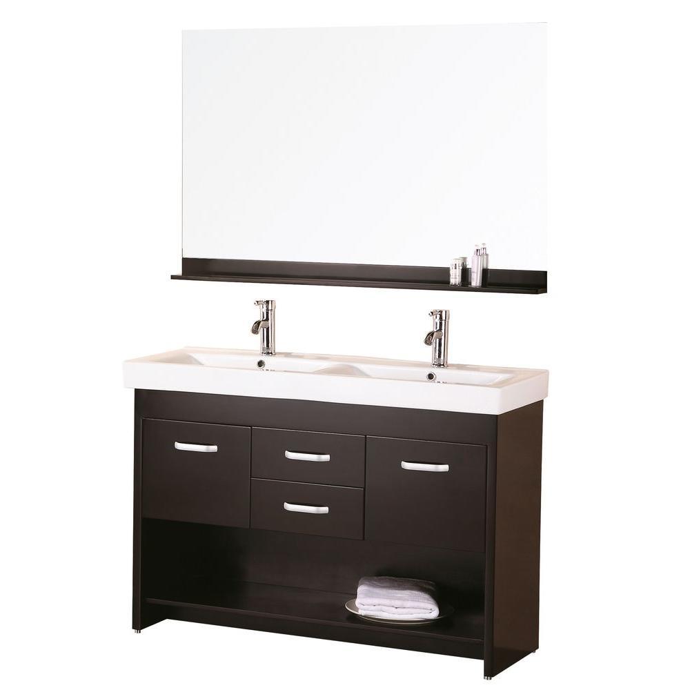 """Bathroom Sink Vanity Set, 48"""" Double Drop-In Sink, Citrus"""