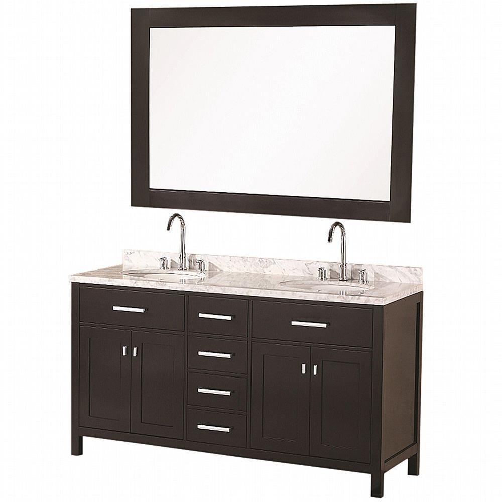 "Bathroom Sink Vanity Set, 61"" Double Under-Mount Sink, London"