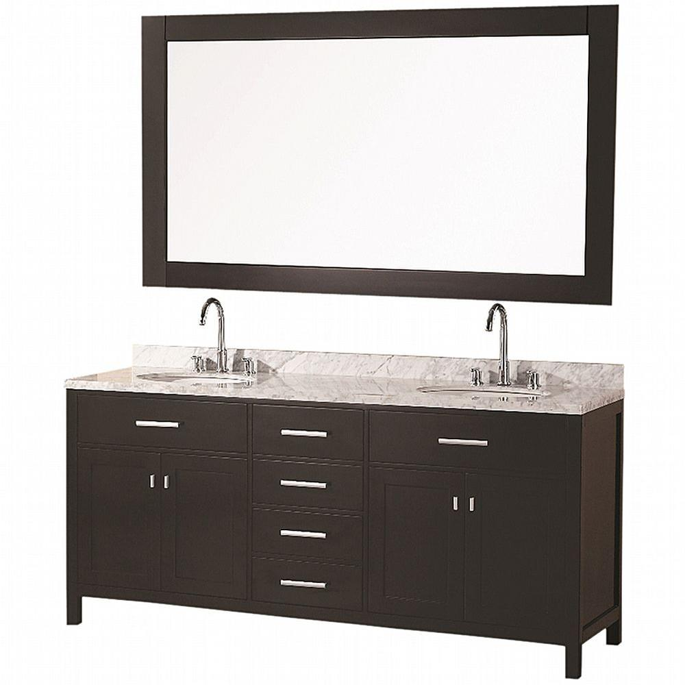 "Bathroom Sink Vanity Set, 72"" Double Under-Mount Sink, London"