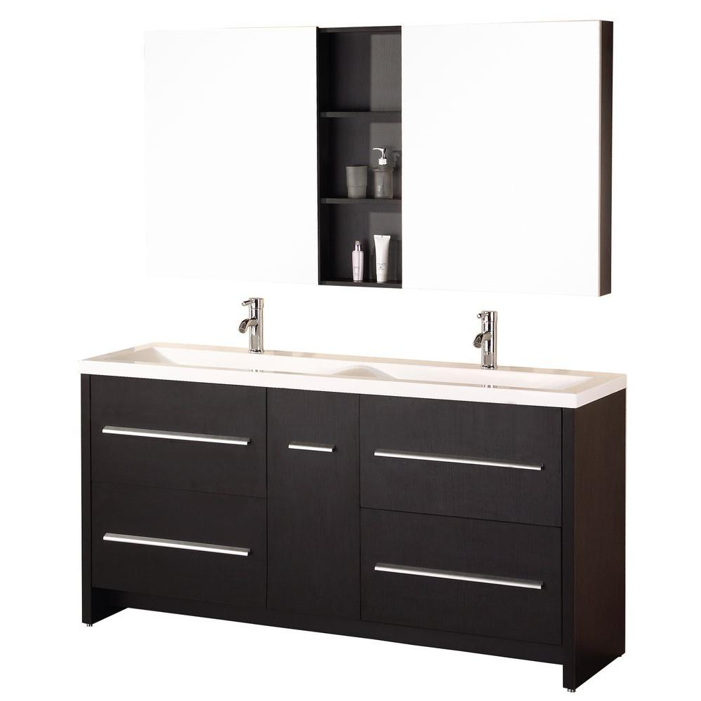 "Bathroom Sink Vanity Set, 63"" Double Drop-In Sink, Perfecta"