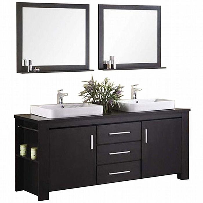 "Bathroom Sink Vanity Set, 72"" Double Drop-In Sink, Washington"