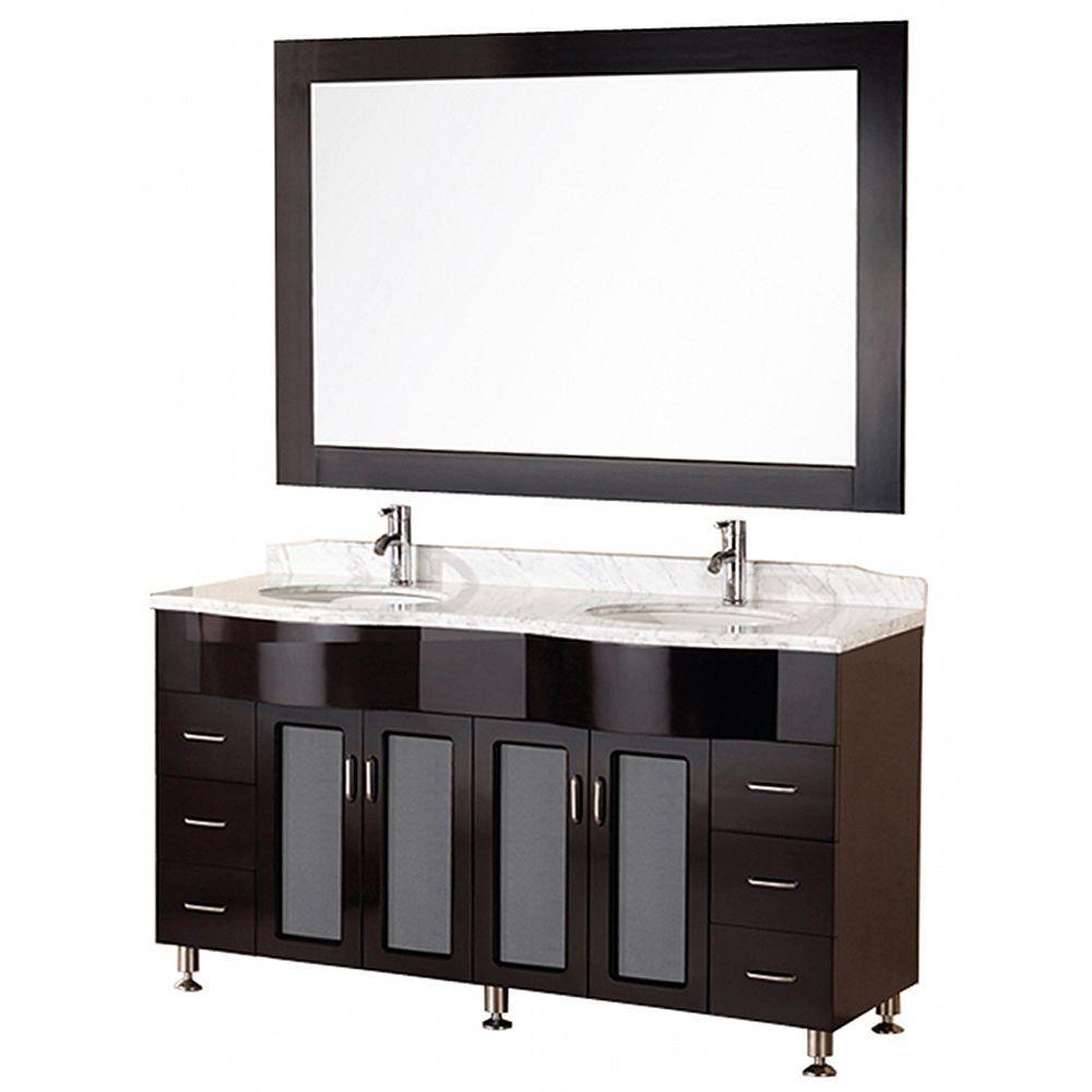 "Bathroom Sink Vanity Set, 61"" Double Under-Mount Sink, Tustin"