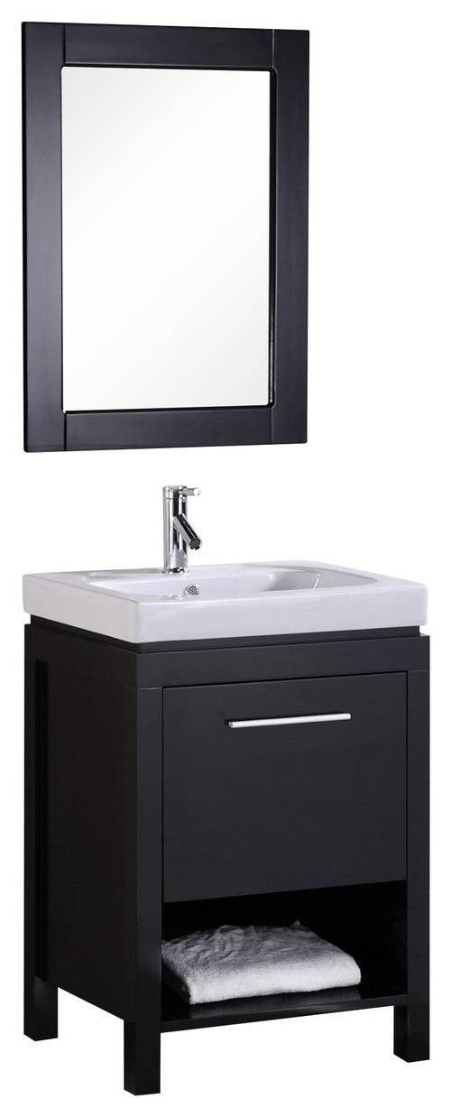 "New York 24"" Single Sink Vanity Set in Espresso"