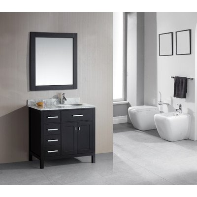 "London 36"" Single Sink Vanity Set in Espresso Finish with Drawers on the Left"