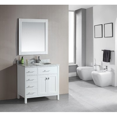 """London 36"""" Single Sink Vanity Set in White Finish with Drawers on the Left"""