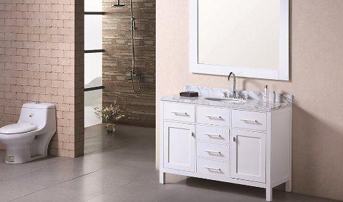 "London 48"" Single Sink Vanity Set in White"