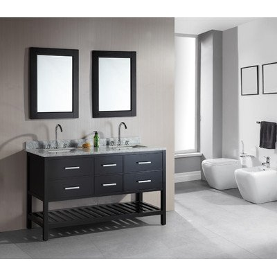 "London 61"" Double Sink Vanity Set in Espresso with Open Bottom"