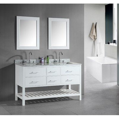 "London 61"" Double Sink Vanity Set in White with Open Bottom"