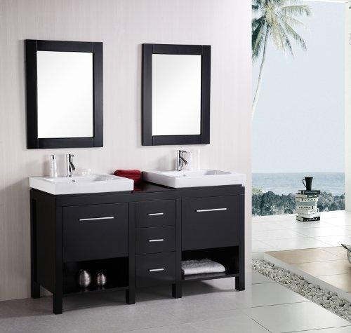 """New York 60"""" Double Sink Vanity Set in Espresso"""