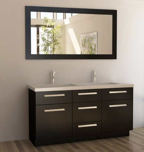 "Moscony 60"" Double Sink Vanity Set in Espresso"