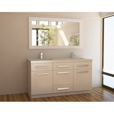 "Moscony 60"" Double Sink Vanity Set in White"