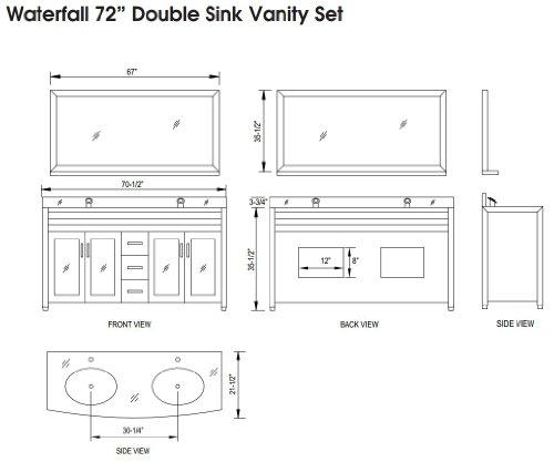 "Waterfall 72"" Double Sink Vanity Set in White"