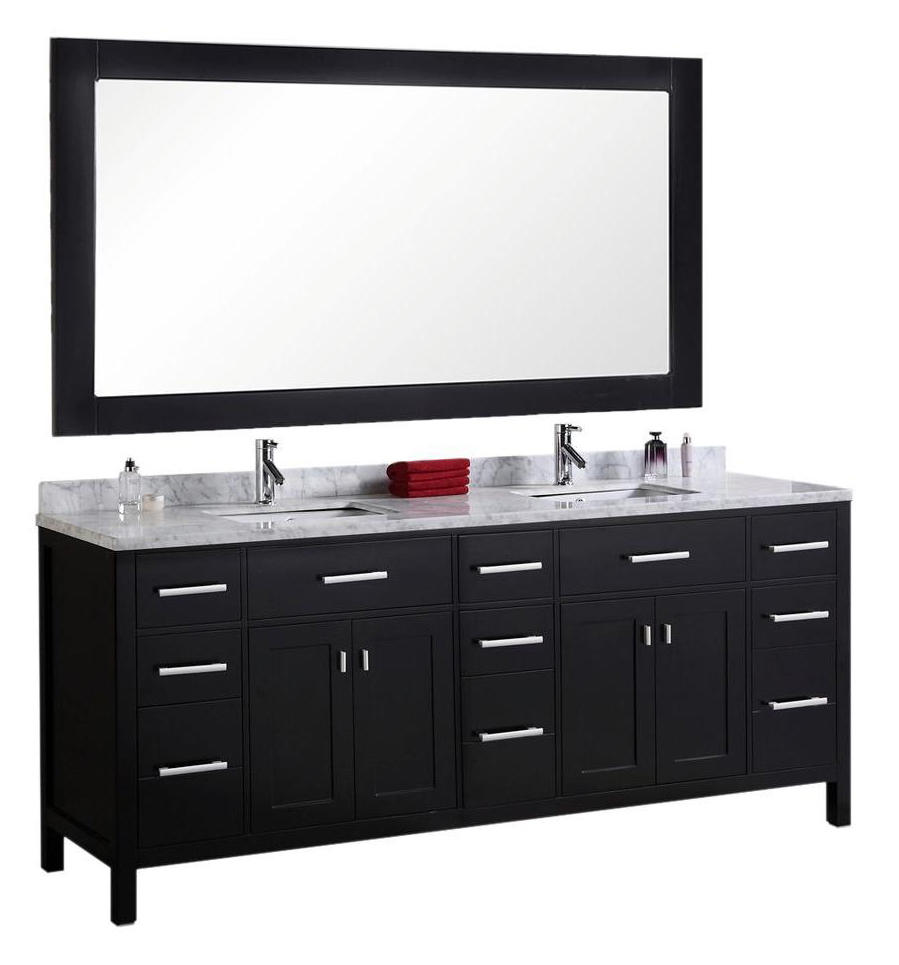 "London 78"" Double Sink Vanity Set in Espresso"