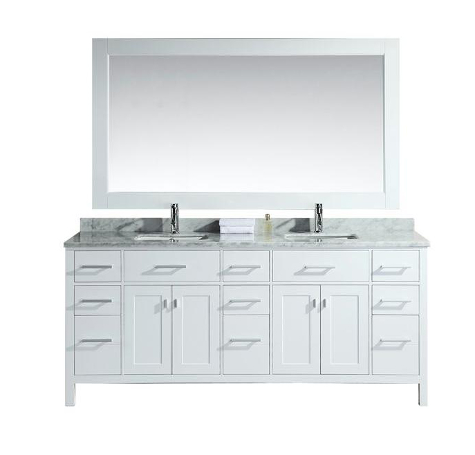 "London 78"" Double Sink Vanity Set in White"