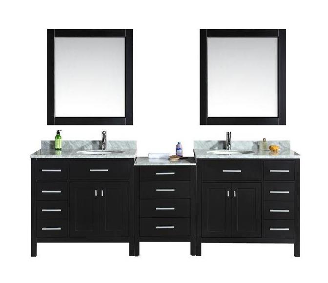 "London 92"" Double Sink Vanity Set in Espresso"