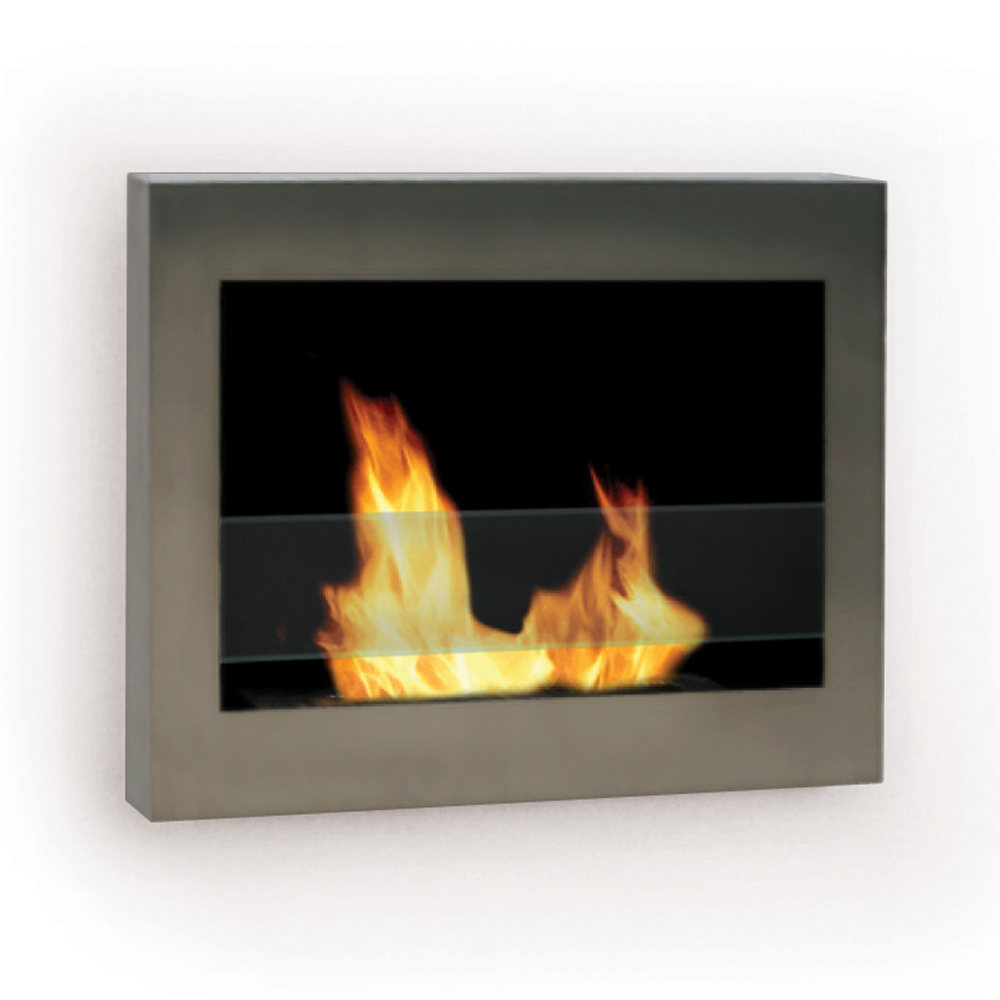 SoHo Wall Mount Fireplace, Stainless Steel