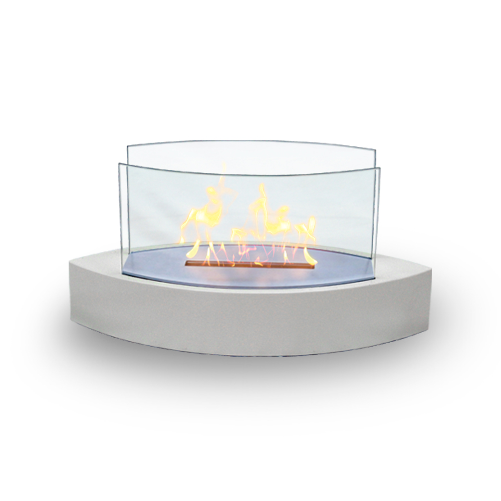 Lexington Table Top Fireplace, White Gloss Paint