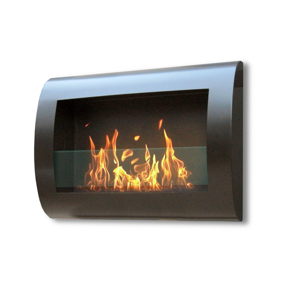 Chelsea Wall Mount Fireplace, Black