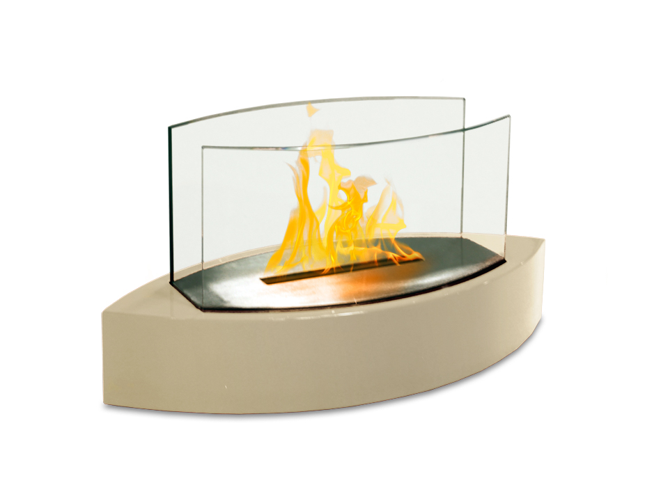 Lexington Table Top Fireplace, Beige Gloss Paint