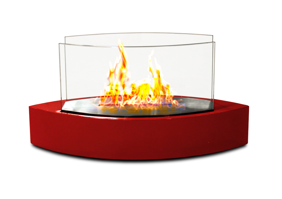 Lexington Table Top Fireplace, Red Gloss Paint