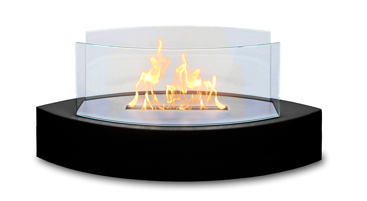 Lexington Table Top Fireplace, Black Gloss Paint