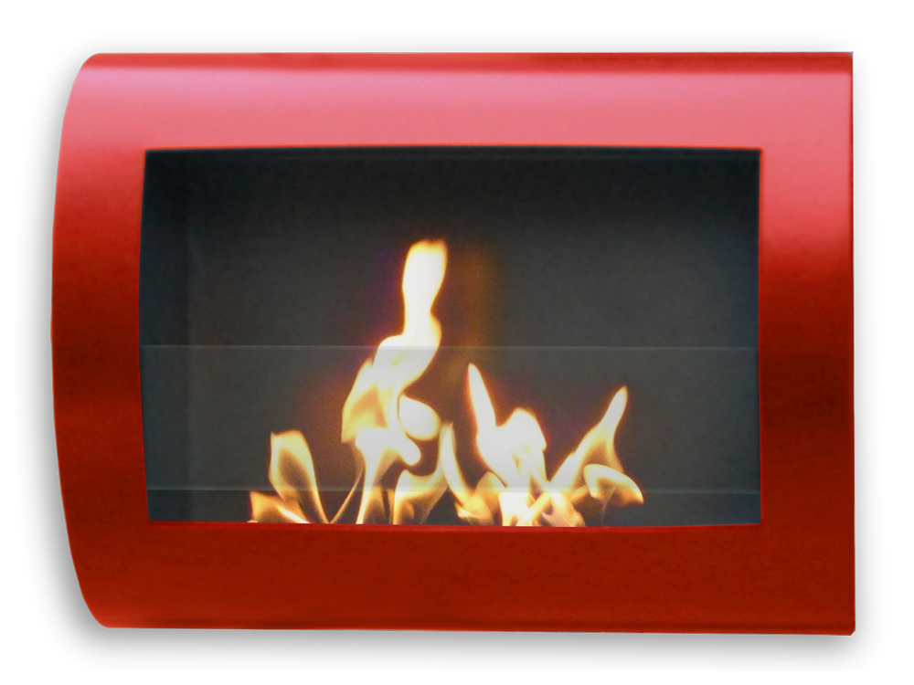 Chelsea Red Wall Mount Fireplace - Stainless Steel