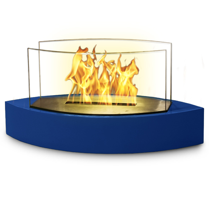 Lexington Table Top Bio-ethanol Fireplace, High Gloss Blue