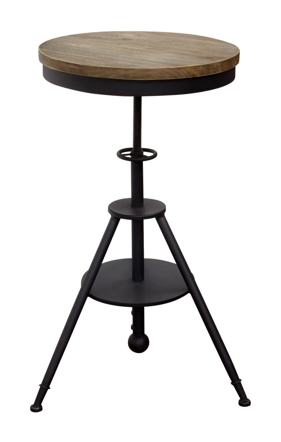 Douglas Vintage Adjustable Height Bistro Table with WeatheRed Grey Top and Powder Coat Iron Base