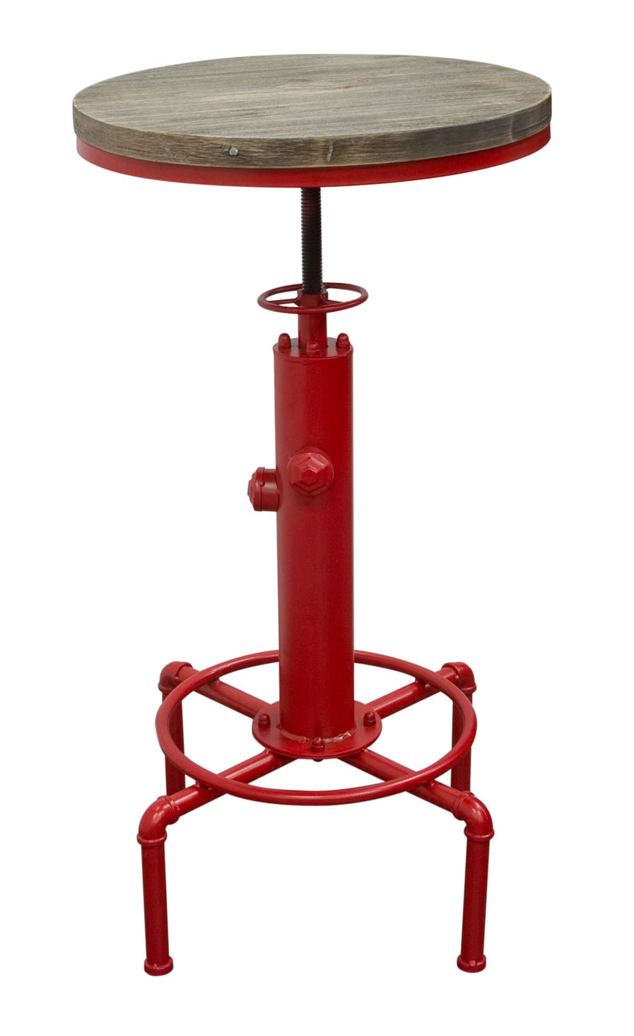 "Brooklyn Adjustable Height Bistro Table with WeatheRed Grey Top and Red Powder Coat ""Hydrant"" Base"