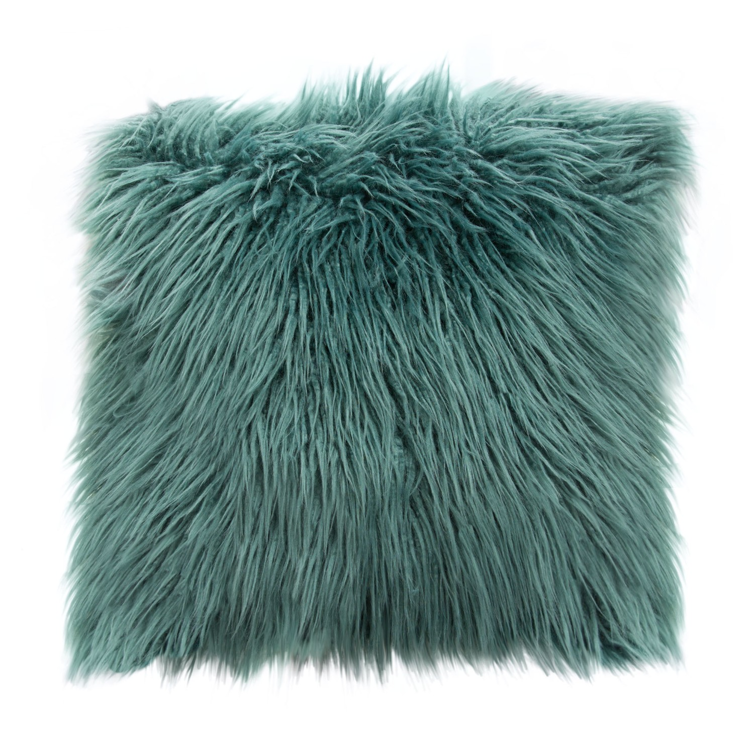 Diamond Sofa Dual-Sided Faux Fur Square Accent Pillow in Teal Ombre - 18""