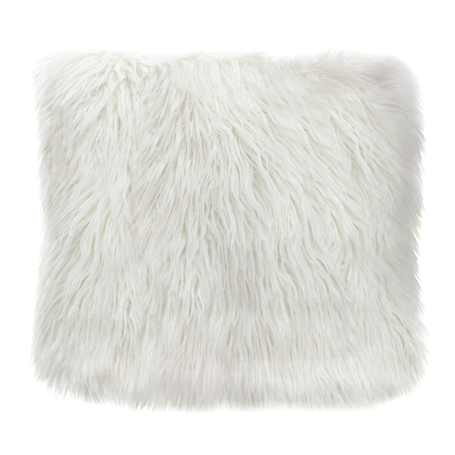 """Diamond Sofa Dual-Sided Faux Fur Square Accent Pillow in White Ombre - 18"""""""